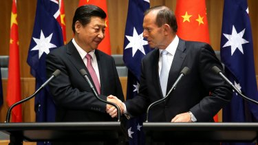 Chinese President Xi Jinping and Prime Minister Tony Abbott.
