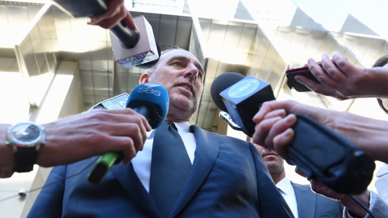 Brian Houston speaks to the media after appearing at the Royal Commission into Institutional Responses to Child Sexual Abuse in October last year.