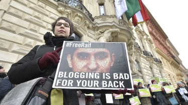 Protests against the punishment for Saudi blogger Raif Badawi in February, 2015, in Vienna, Austria.