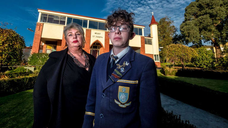 Tracy-Ann with her 16-year-old son Charlton, who has ADHD, at Mt Lilydale Mercy College.