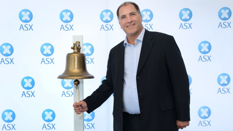 Hazer Group managing director Geoff Pocock  ringing the bell at company's ASX listing.