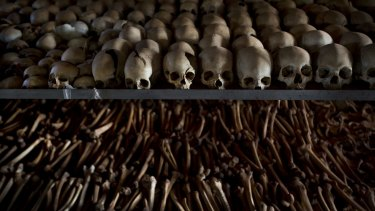 The skulls and bones of some of those who were slaughtered as they sought refuge inside the church are laid out as a memorial to the thousands who were killed in and around the Catholic church during the 1994 genocide in Ntarama, Rwanda.