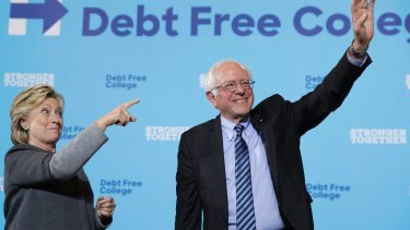 "Senator Bernie Sanders here campaigning with Clinton but during the primaries he attacked her over those  ""damn e-mails."""
