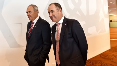 NAB chairman Ken Henry, left, and CEO Andrew Thorburn are architects of the Clydesdale demerger.