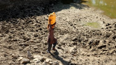A girl carries drinking water on her head as she walks back to her village after collecting it from an almost dried up well in Samba, India, last week.