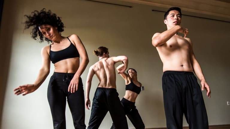 Anna Seymour (left) in dance production <i>Under My Skin</I> with Luigi Vesca, Amanda Lever and Elvin Lam.