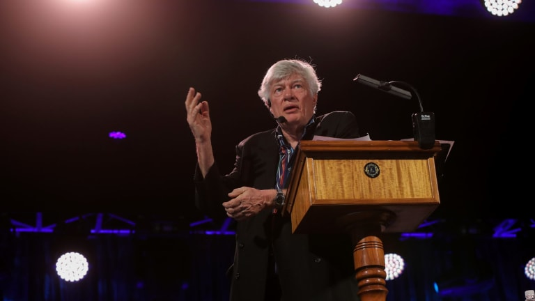 Geoffrey Robertson entertains a massive crowd with his discussion of folk music at Port Fairy.
