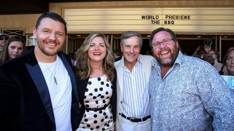 Stars Manu Fieldel (left), Julia Zemiro, Nicholas Hammond and Shane Jacobson at the premiere of <i>The BBQ</i>, held at Albury's Regent Cinemas.
