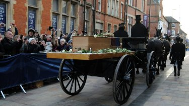 The coffin containing the remains of King Richard III transported on a gun carriage through Leicester on Sunday.