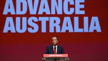 Opposition Leader Bill Shorten addresses the ALP National Conference in Melbourne.