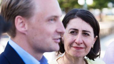 NSW Premier Gladys Berejiklian with Liberal candidate James Griffin in Manly.