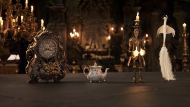Cogsworth, Mrs Potts, Lumiere and Plumette.