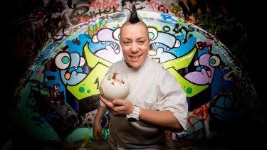 MasterChef guest Anna Polyviou with her space-age signature dessert, Anna's Mess.