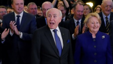 Former prime minister John Howard, pictured with wife Janet, at the Coalition's official campaign launch.