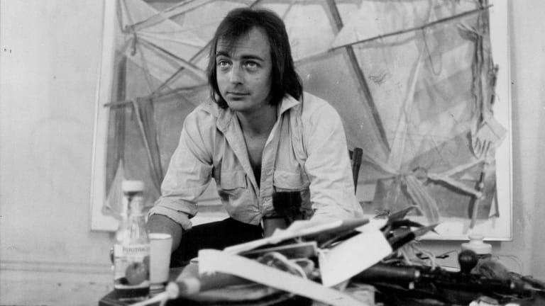 Tim Storrier in his Lavender Bay studio in 1980.