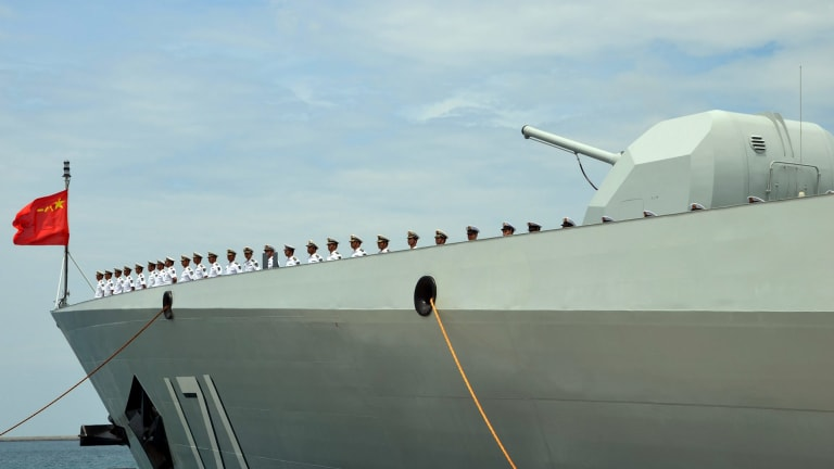 China's missile destroyer Haikou, which took part in the exercises, in 2014.