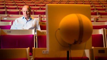 Acoustician Juergen Reinhold has been fine-tuning the new acoustic reflectors in the Concert Hall at the Sydney Opera