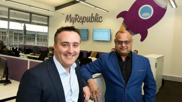MyRepublic Australia's Managing Director Nicholas Demos and CEO Malcolm Rodrigues in their Sydney office.