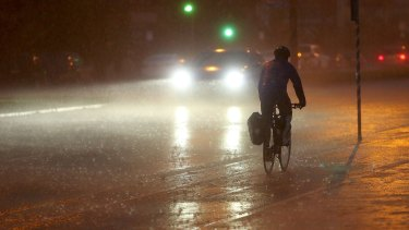 Rain and damaging winds are expected to hit the city about 6.30pm.