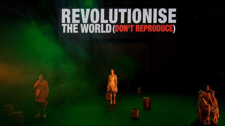 Elizabeth Esguerra, Belinda McClory and Ming-Zhu Hii in <I>Revolt. She Said. Revolt Again.</I> at the Malthouse.