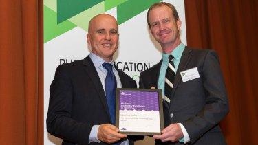 Matt Scott, right, with former NSW Minister for Education, Adrian Piccoli.