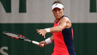 Samantha Stosur in action at the French Open in Paris on Friday.