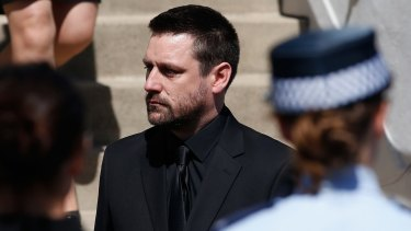 Grief: John O'Brien, husband and father of the Rozelle blast victims Bianka and Jude O'Brien.