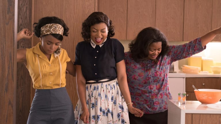 A movie starring African-American women that did well at the box office: Janelle Monae, Taraji P. Henson and Octavia Spencer in <i>Hidden Figures</i>.