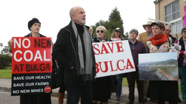 John Krey leads residents of Bulga in a protest against the proposed Rio Tinto Warkworth mine extension.