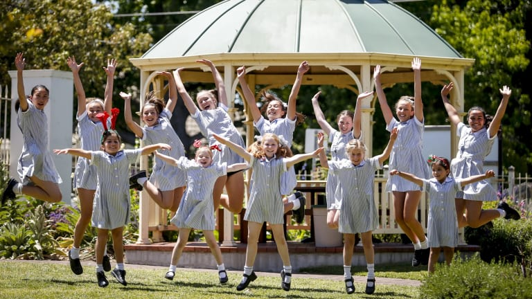 Students at Shelford Girls' Grammar in Caulfield celebrate on their last day of school.