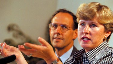 Christine Milne, leader of the Tasmanian Greens, pictured with Senate candidate and national Greens leader Bob Brown in February 1996.