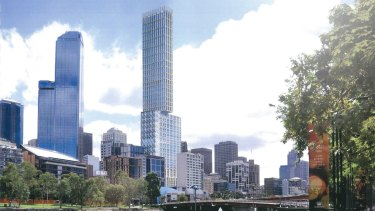 An artist's second view of the proposed tower.