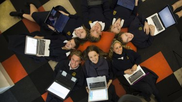 Students from Frankston High School getting ready for a new social innovation/entrepreneurship curriculum which is very Google-esque, with bean bags, laptops and couches. The program starts next term. Students in the photograph are Harriet, Lawson, Lauren, Ben, Lara, Clare, Matt and Tayler.