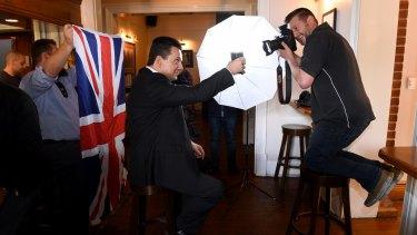 Crossbench senator Nick Xenophon at the British Hotel on Saturday.