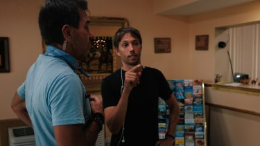 Sean Baker (right) directs The Florida Project.