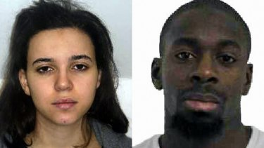 Hayat Boumeddiene (left) and Amedy Coulibaly (right) were suspected to have taken hostages at a kosher grocery store in east Paris. Coulibaly is still at large, according to reports.