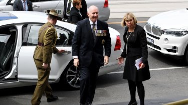 Governor-General Sir Peter Cosgrove arrives.