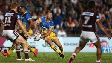 Facing scrutiny: Kieran Foran passes for the Eels against Manly at Brookvale on April 14.