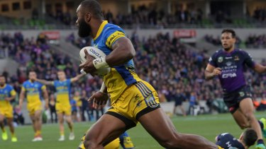 It's not over: Semi Radradra scores to set up a grandstand finish..