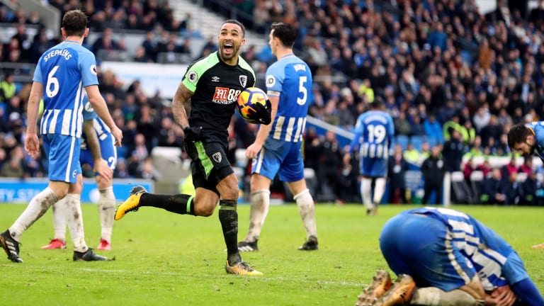 Bournemouth's Callum Wilson celebrates scoring his side's second goal against Brighton & Hove Albion on Monday.
