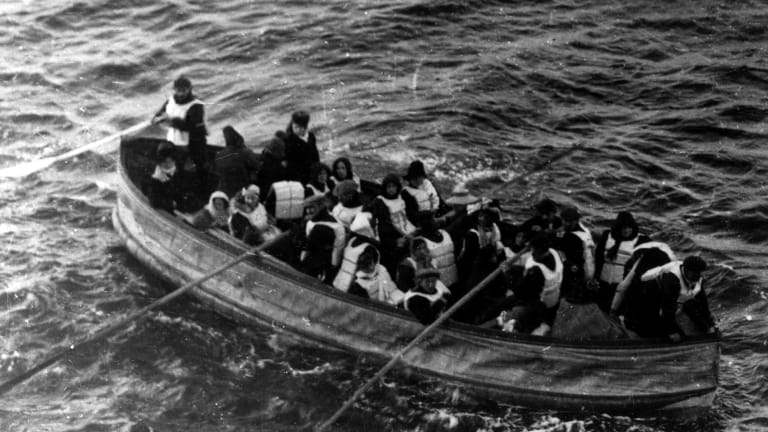 Survivors of the Titanic, pictured from the Carpathia.