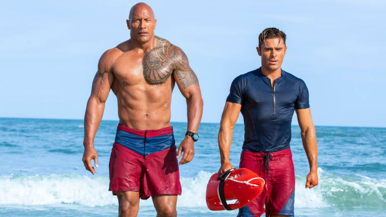 """""""Dwayne is a machine,"""" says Zac Efron, who stuck to a dramatic diet and training schedule for four months for the movie."""
