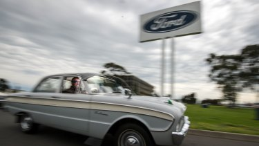 Ford enthusiast Patrick Boylan in his 1962 XK Ford Falcon that was built at the Broadmeadows plant. Ford workers have been sacked today as Ford closed their Broadmeadows and Geelong plants.