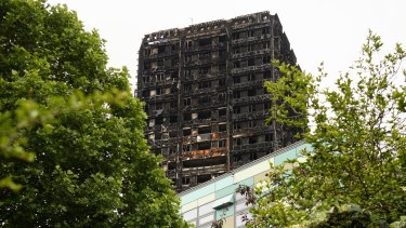 The remains of the Grenfell Tower in London after the fire.