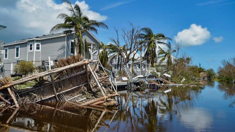 Damaged homes near Marathon, Florida, in the aftermath of Hurricane Irma.