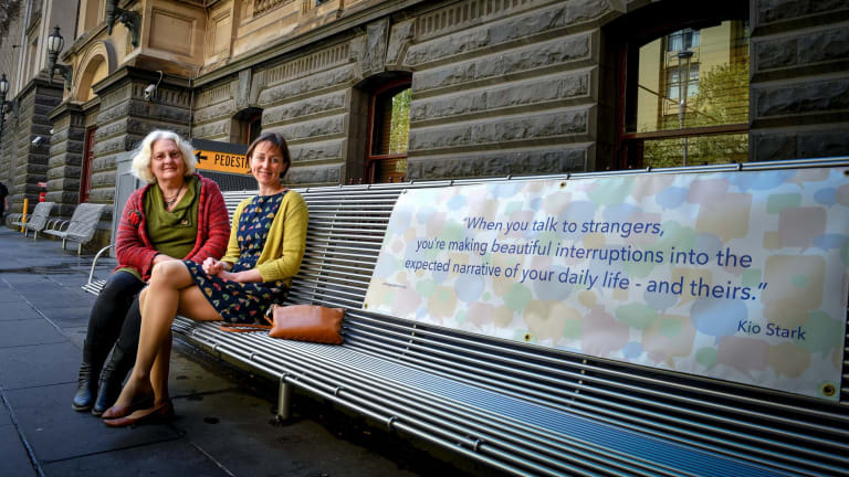 Claire Dixon, right, with Valerie Mills, on the Talking Park Bench.