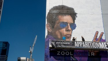 A hand-painted mural of the actor Ben Stiller promoting the new movie Zoolander 2 on February 5 in Melbourne