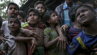 Rohingya refugees in the Leda Rohingya refugee camp in Chittagong, Bangladesh.