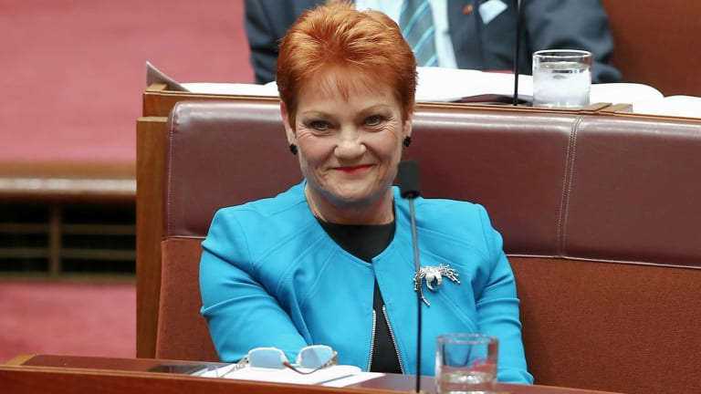 Senator Pauline Hanson during Question Time in the Senate.