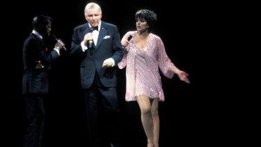 Sinatra on stage in Sydney with Sammy Davis jnr and Liza Minnelli.